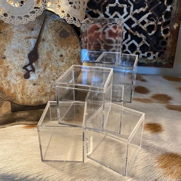 Sugarfina 6 Empty Cube Clear Plastic Lucite Boxes